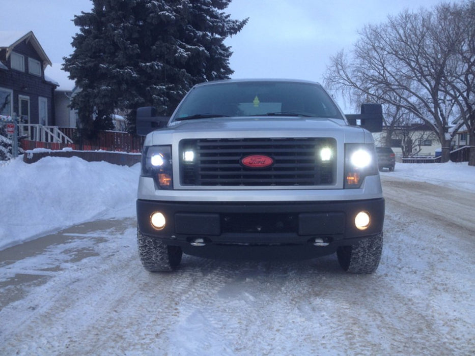 Behind Grille LED Pod Light Kit For 2009-14 Ford F150, Includes (2) 20W High Power CREE LED Cubes, Behind Hood/Grill Mounting Brackets & On/Off Switch Wiring Kit-iJDMTOY