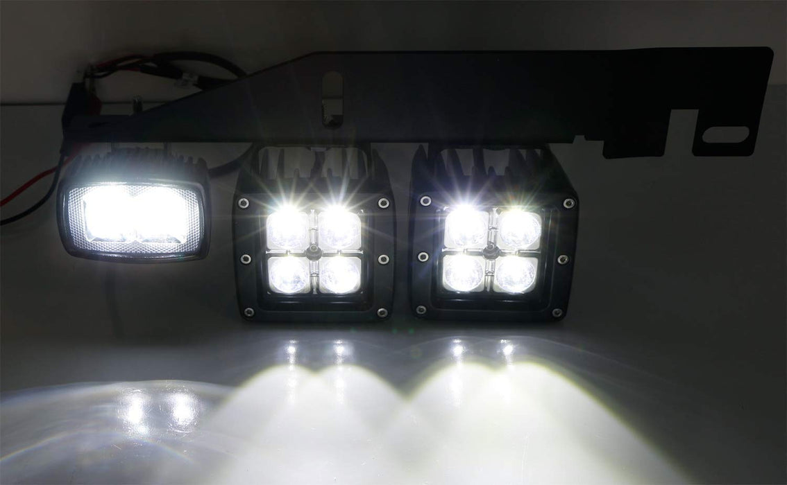 LED Pod Light Fog Lamp Kit For 2017-up Ford Raptor, Includes (4) 20W (2) 10W CREE LED Cubes, Foglight Location Mounting Brackets & On/Off Switch Wiring Kit-iJDMTOY