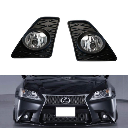 Clear or Yellow Lens Halogen Fog Light Kit For 2013-2015 Lexus GS350 GS460 GS450h, Includes LH RH Fog Lamp Housings, H11 Halogen Bulbs, JDM GS-F Style Foglight Bezels & On/Off Switch Wiring-iJDMTOY