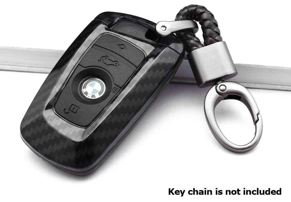 (1) Carbon Fiber Finish Smart Key Fob Shell w/ Black Silicone Key Button  Skin For BMW 2 3 4 5 6 7 Series X1 X2 X3 X4 (Fit Most Fxx Chassis BMWs)