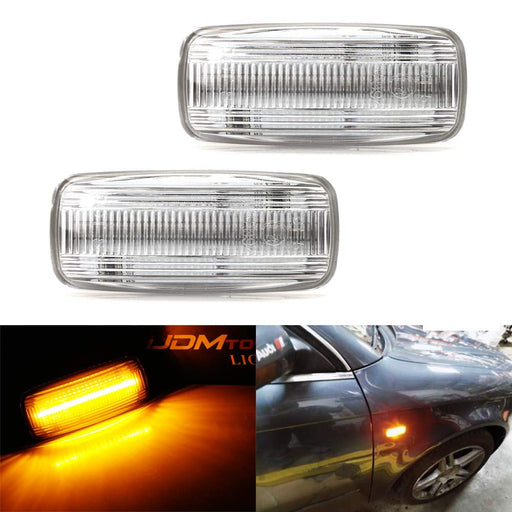 Amber Full LED Front Fender Turn Signal Side Marker Light Kit For Audi A4 A6 A8 TT, Powered by 21-SMD LED, Replace OEM Sidemarker Lamps-iJDMTOY