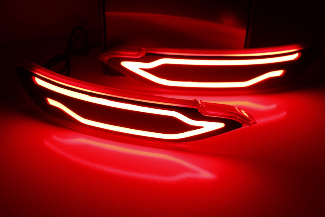 JSR Style Red Lens LED Bumper Reflector Lights For 16-up Hyundai Tucson IX35, Function as Tail, Brake & Rear Fog Lamps-iJDMTOY