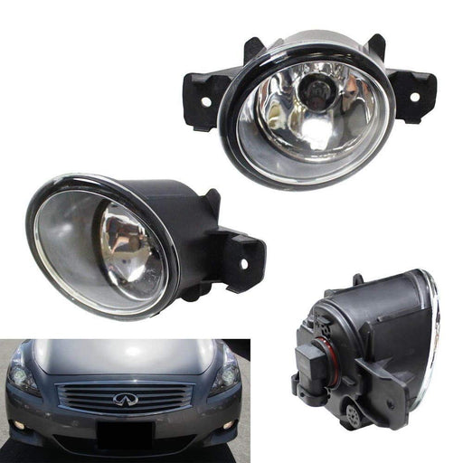 Pair of Clear or Yellow Lens Halogen Fog Lamps For Nissan & Infiniti, Driver Passenger Side Assembly w/ (2) 55W H11 Halogen Bulbs-iJDMTOY