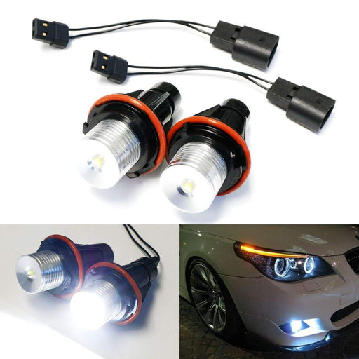 (2) White LED Angel Eye Bulbs For BMW E39 E53 E60 E63 E64 E65 E66 E83 5 6 7 Series X3 X5, Powered by 7000K Xenon White 5W LED Light w/ Keychain Lanyard-iJDMTOY