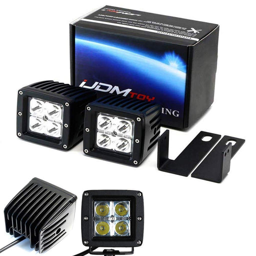 LED Pod Light Fog Lamp Kit For 2009-12 Dodge RAM 2500 3500, Includes (2) 20W High Power CREE LED Cubes & Lower Grille Opening Area Mounting Brackets-iJDMTOY