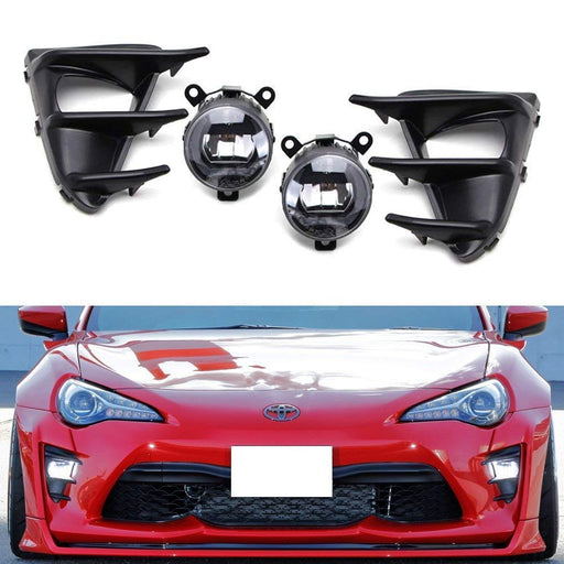 LED Daytime Running Driving Fog Light Kit For 2017-up Toyota 86, Includes OEM Style CREE LED Halo DRL Fog Lamps, Foglight Bezel Covers & Switch Wiring Kit-iJDMTOY