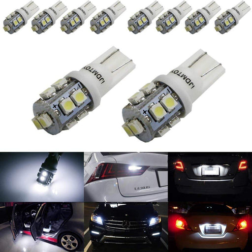 (10) Xenon White 10-SMD 360-Degree Shine 168 194 2825 W5W LED Replacement Bulbs For License Plate Lights, Also Parking Lights, Backup Lights, Interior Lights-iJDMTOY