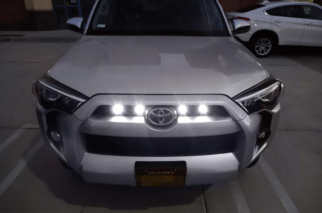 4pc Raptor Style 3W High Power LED Grille Lighting Kit For Toyota FJ  Cruiser 4Runner Tacoma, Includes Amber or White Projector Lens Spot Beam LED