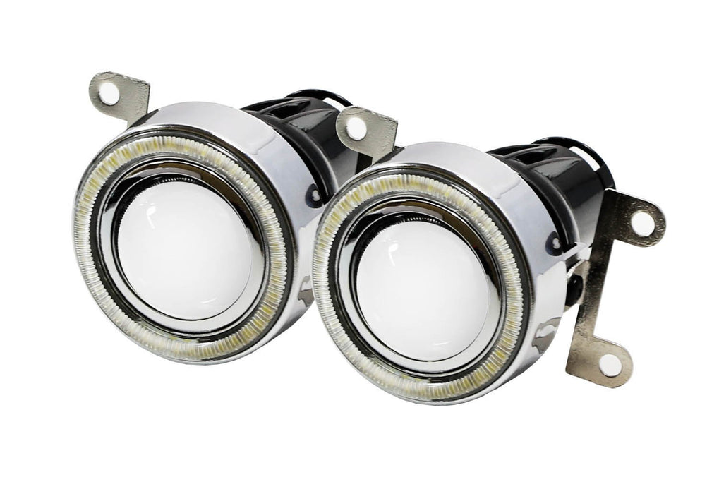 Xenon White LED Projector Fog Light Kit For 2013-2016 Scion FR-S w/ 40-SMD LED Halo Ring Parking Lights, Includes (2) Projector Lens Foglamps w/ Brackets, (2) Glossy Bezels & Relay Harness-iJDMTOY