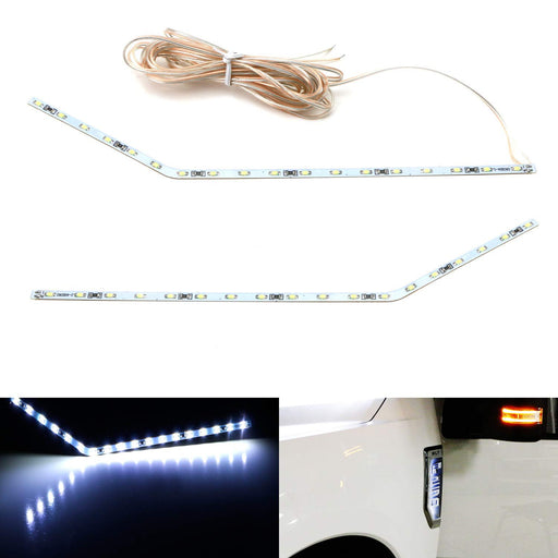 Xenon White LED Background Illumination Kit For 2017-up Ford F250 F350 F450 Super Duty Side Fender Chrome Emblem-iJDMTOY