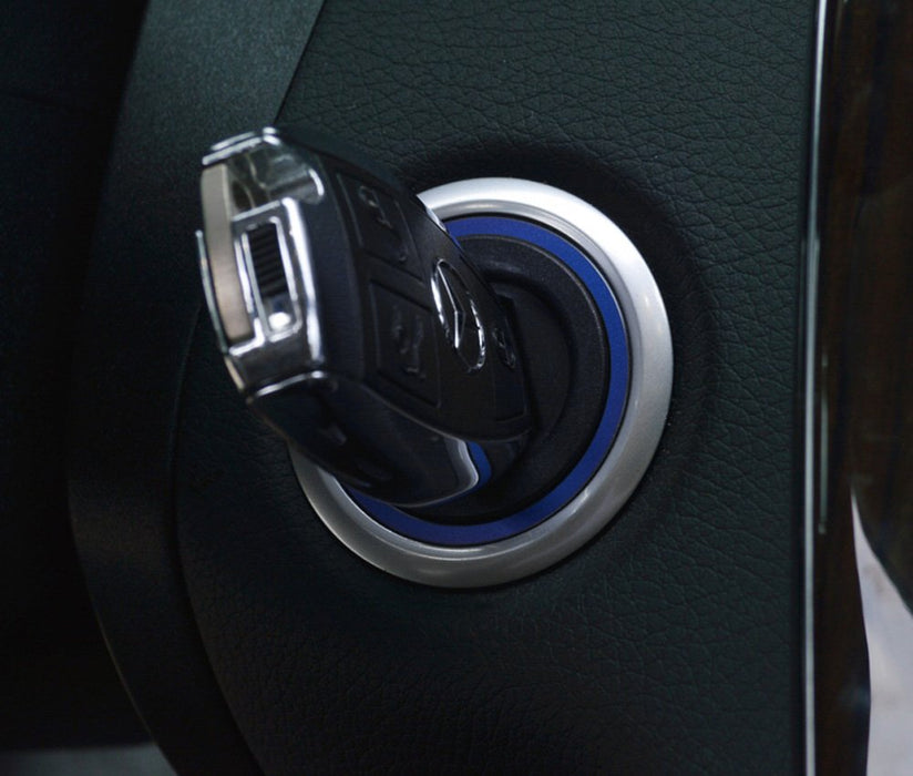 (1) Sports Blue or Red Aluminum Key Hole/Keyless Engine Push Start Button Surrounding Decoration Trim For Mercedes C E S R ML GL CLA CLS GLA GLC GLE Class-iJDMTOY
