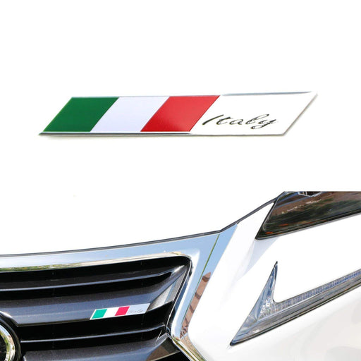 Aluminum Plate Italian Flag Emblem Badge For Italian Car Front Grille, Side Fenders, Trunk, Dashboard Steering Wheel, etc-iJDMTOY