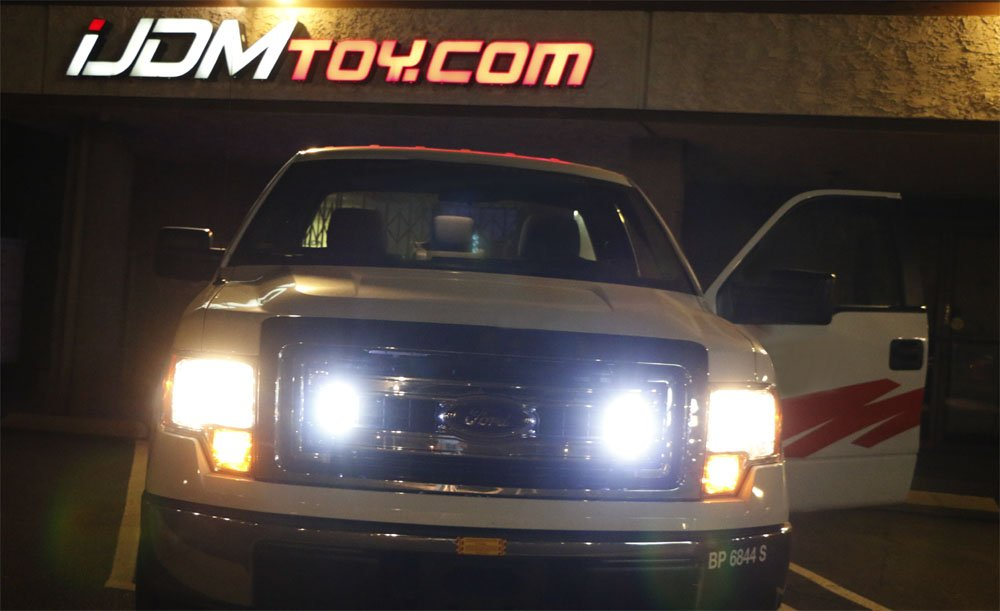 (2) High Power 3-LED Daytime Running Light Kit For Truck SUV 4x4 Behind Grille, Cool White Color-iJDMTOY