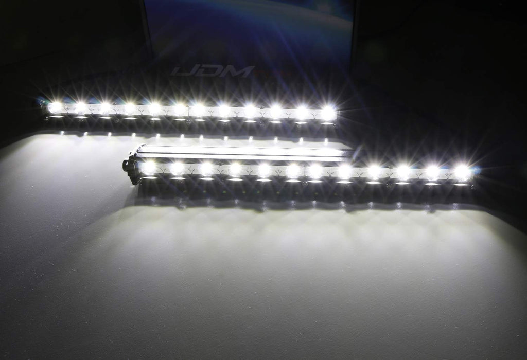 Front Grille LED Light Bar Kit For 2018-up Ford F150 XL XLT, Includes (2) 36W Slim High Power CREE LED Lightbars, Front Grill Mounting Brackets & On/Off Switch Wiring Kit-iJDMTOY