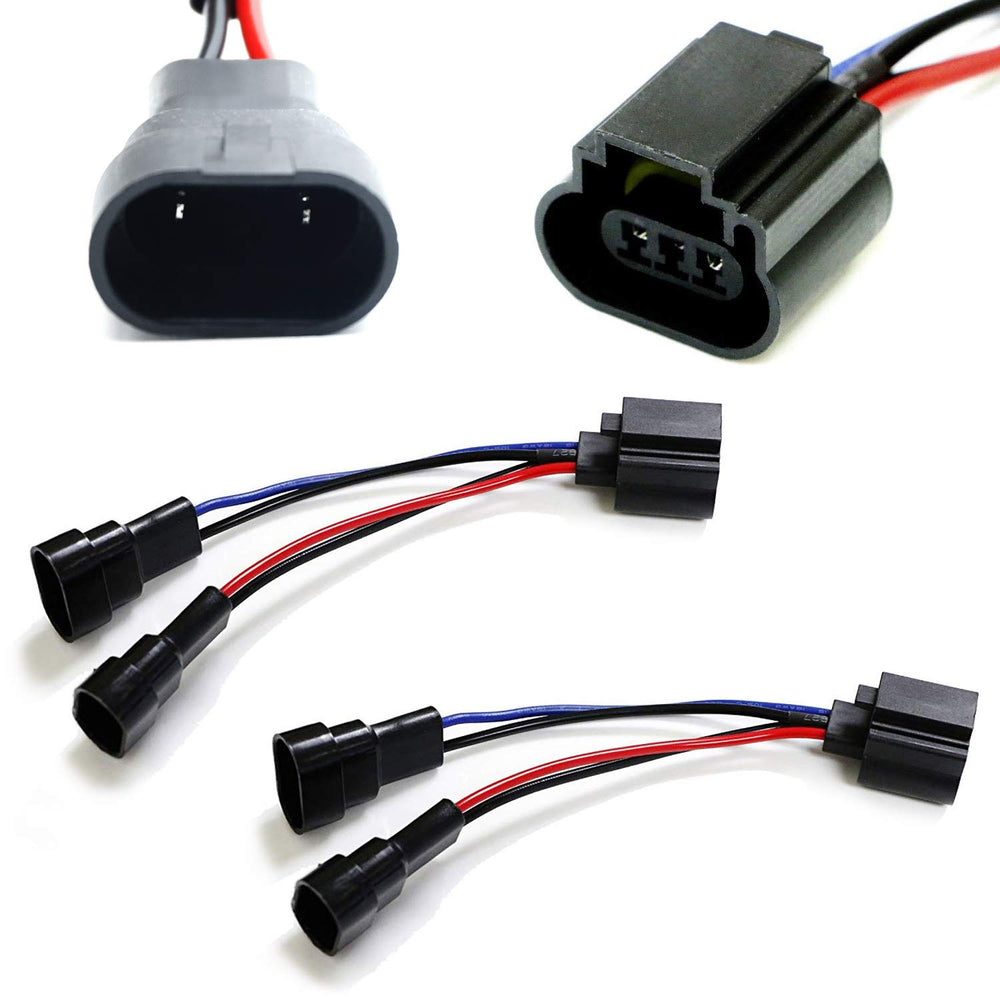 Dual 9005/9006 To H13 Wiring Conversion Adapters For Headlight Retrofit-iJDMTOY
