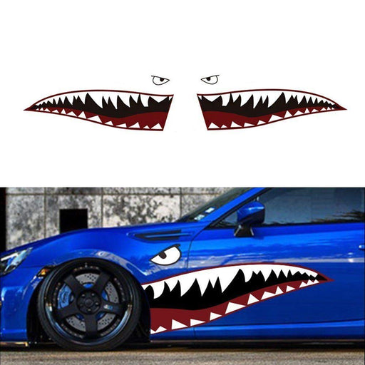"Complete Set 60"" Full Size Shark Mouth w/ Eye Die-Cut Vinyl Decals For Car (Left & Right)-iJDMTOY"