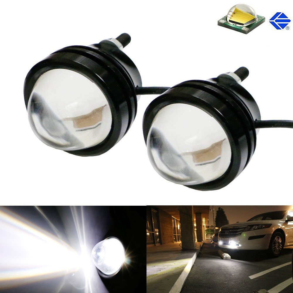 (2) Amber Yellow or Xenon White 5W CREE High Power Bull Eye LED Projector Lamps, Good For Driving DRL Lights, Fog Lights or Parking Position Lights-iJDMTOY