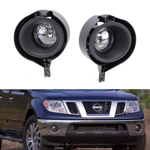Left/Right Clear Lens Fog Lights Foglamp Kit w/ Halogen Bulbs, Bezel Covers and Wiring Harness Switch For 2005-2017 Nissan Frontier w/ Metal Chrome Bumper-iJDMTOY