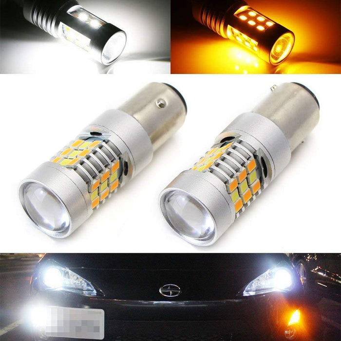 White/Amber SAMSUNG-SMD 1157 3157 or 7443 Switchback LED Bulbs For Front Turn Signal Lights-iJDMTOY