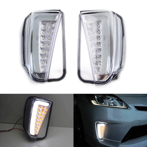 Clear or Smoked Lens LED DRL/Turn Signal Lights For 2012-2015 Toyota Prius (LCI Facelift Models), JDM Style Direct Fit Lower Bumper Lights Assembly-iJDMTOY