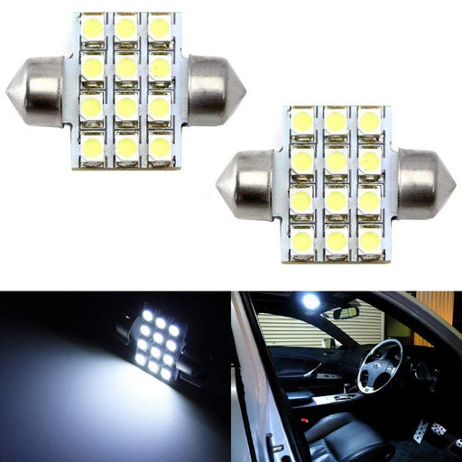 "12-SMD 1.25"" 31mm Festoon LED bulbs DE3175 DE3021 DE3022-iJDMTOY"