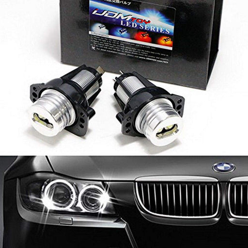 (2) White LED Angel Eye Bulbs For BMW E90 E91 325i 330i Pre-LCI, Powered by 7000K Xenon White 6W LED Light w/ Keychain Lanyard-iJDMTOY