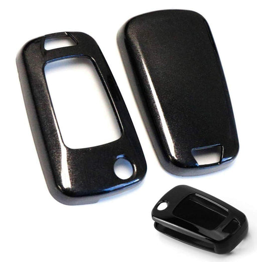 (1) Exact Fit Glossy Black Blue or Red Smart Key Fob Shell Cover For Chevrolet GMC 3 4 or 5 Buttons Folding Key Fob (Camaro Cruze Malibu SS Spark Volt, etc)-iJDMTOY