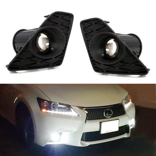 Lexus F Sport 15W High Power Projector LED Fog Light Kit For 2013-2015 Lexus GS350 GS460 GS450h, 6000K Xenon White or Amber Yellow-iJDMTOY
