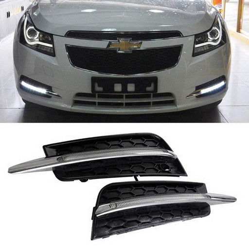 Switchback LED Daytime Running Light Kit For 2011-2014 Chevrolet Cruze, Mercedes W204 Style White/Amber Exact Fit 10W DRL Bezel Assembly-iJDMTOY