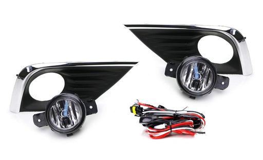 Complete Set Clear Lens OEM-Spec Fog Light Kit w/ Bulbs, Chrome Dressed Bezel Covers, On-Off Switch Relay Wiring For 2016-up Nissan Altima-iJDMTOY
