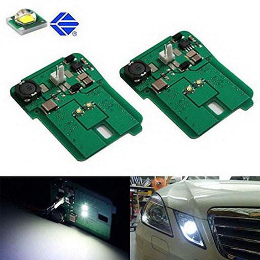 White LED Parking Position Lights For 2010-13 Mercedes W212 E-Class E350 E550 E63 AMG Pre-LCI, Includes (2) HID Matching Xenon White Parking Light Assy-iJDMTOY