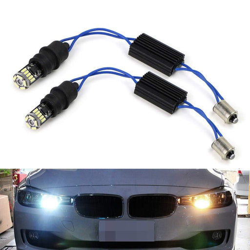 Super Bright Xenon White 15-SMD-1210 LED Lights Plus Error Free BA9 H6W Adapters For Euro Car Position Parking Lights-iJDMTOY