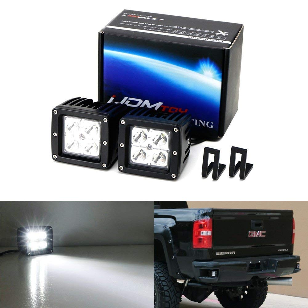 Rear Bumper Mount Searchlight Reverse LED Pod Light Kit For 2015-up Chevy Silverado & GMC Sierra, Includes (2) 20W High Power CREE LED Cubes & Bumper Footstep Mounting Brackets-iJDMTOY
