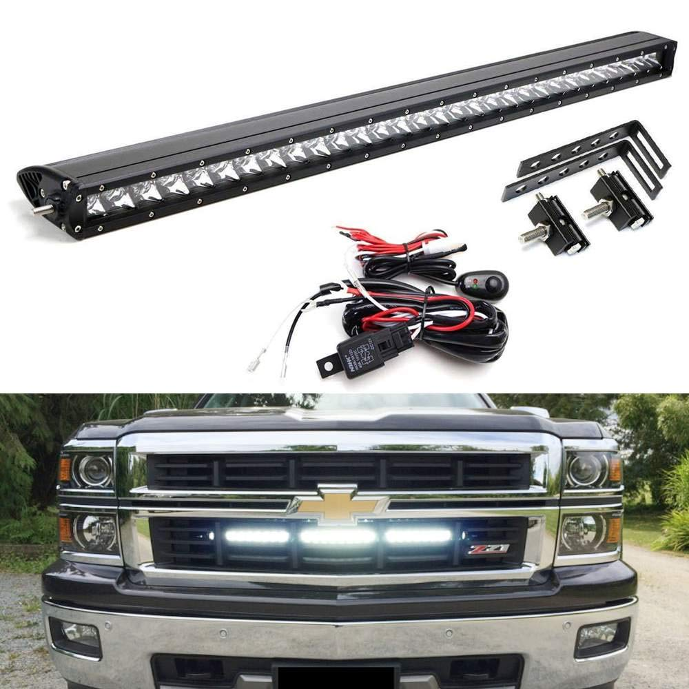 "Behind Grille Mount 30"" LED Light Bar Kit For 2014-16 Chevy Silverado 1500 2500 3500 HD, Includes (1) 150WCREE LED Lightbar, Mesh Grill Mounting Brackets & On/Off Switch Wiring Kit-iJDMTOY"