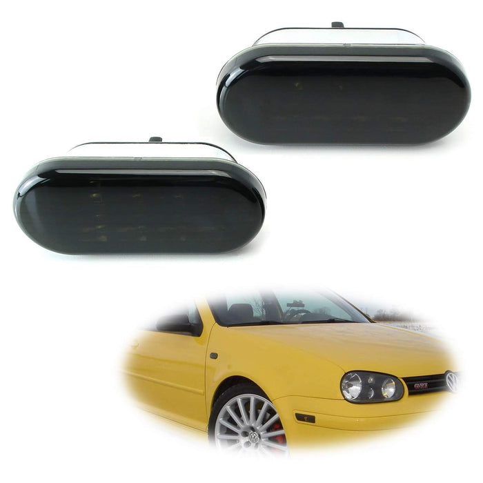 Smoked Lens Amber LED Front Side Marker Lamps For 99-04 Volkswagen MK4 Golf Jetta Bora, 98-04 B5/B5.5 Passat, 99-03 GTI R32, 98-03 Beetle, (2) Smoked Sidemarkers Powered by 8 Amber LED Diodes-iJDMTOY