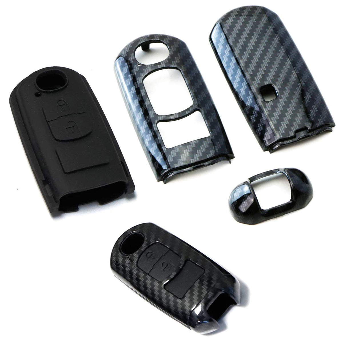 Real Carbon Fiber Remote Key Cover Case for Mazda 3 6 CX5 CX7 from Bospeed