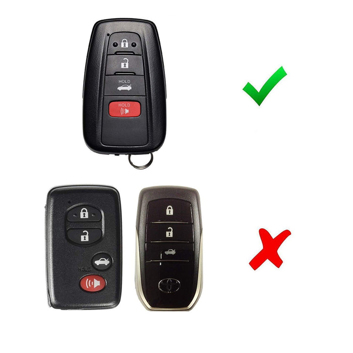 Glossy Metallic Black or Red Exact Fit Key Fob Shell Cover For 2017/2018-up Toyota Camry Prius Prime Mirai C-HR, etc w/Push Start Engine Feature-iJDMTOY