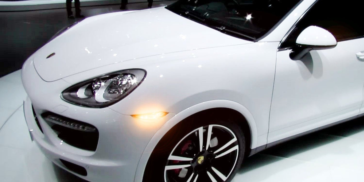Clear or Smoked Lens Switchback LED Front Side Markers For 2011,14 Porsche  Cayenne, (Parking/Driving Lights White, Turn Signals Amber)