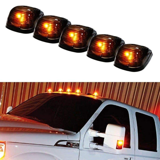 5pc Black Cab Smoked Lens Amber or White LED Rooftop Marker Lamps For Truck SUV 4x4, 5-Piece Roof Running Light Set Powered by (5) 5050-SMD LED Lights-iJDMTOY