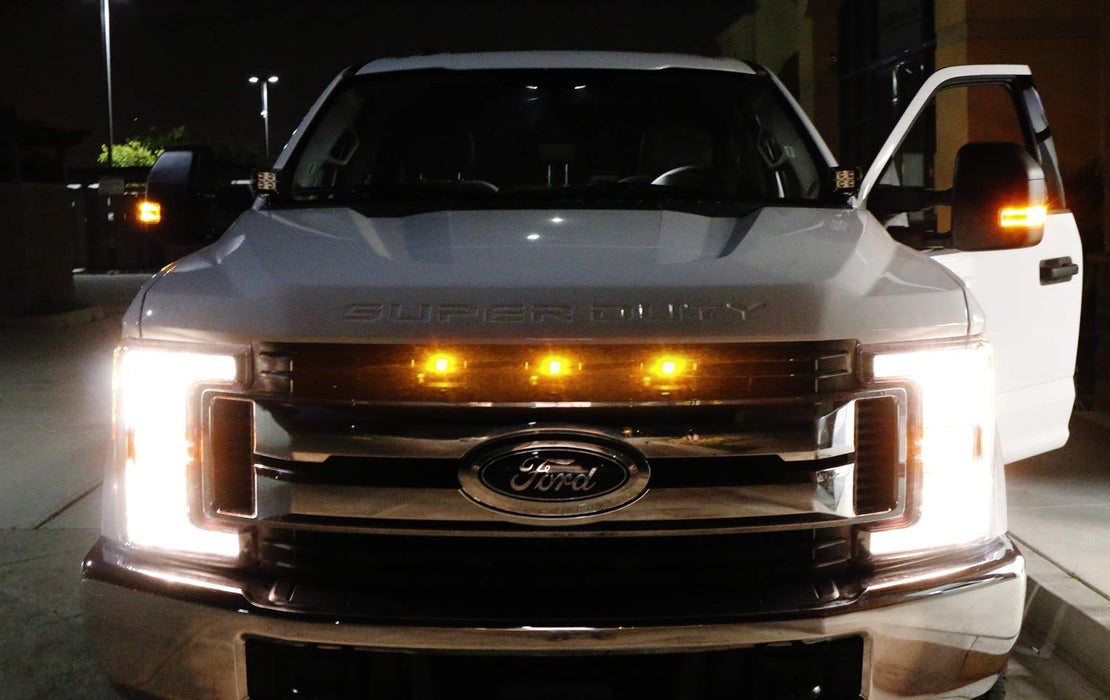 Raptor Style Amber LED Grille Lighting Kit For 2017-up Ford F250 F350 F450 NON-Platinum Trims, Includes (3) 3-SMD 2500K Amber LED Light Assy & Metal Mounting Bracket-iJDMTOY