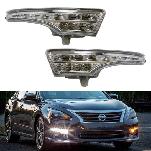 LED Daytime Running Lights Assembly For 2013-2015 Nissan Altima Sedan, Exact Fit High Power Assy Powered By (10) Xenon White LED as DRL & (10) Amber Yellow LED as Turn Signals-iJDMTOY