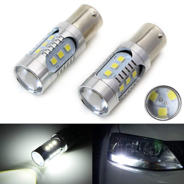 Xenon White High Power 15-SMD 1156, 3156/3157 or 7440/7443 LED Bulbs For Backup Reverse Lights-iJDMTOY