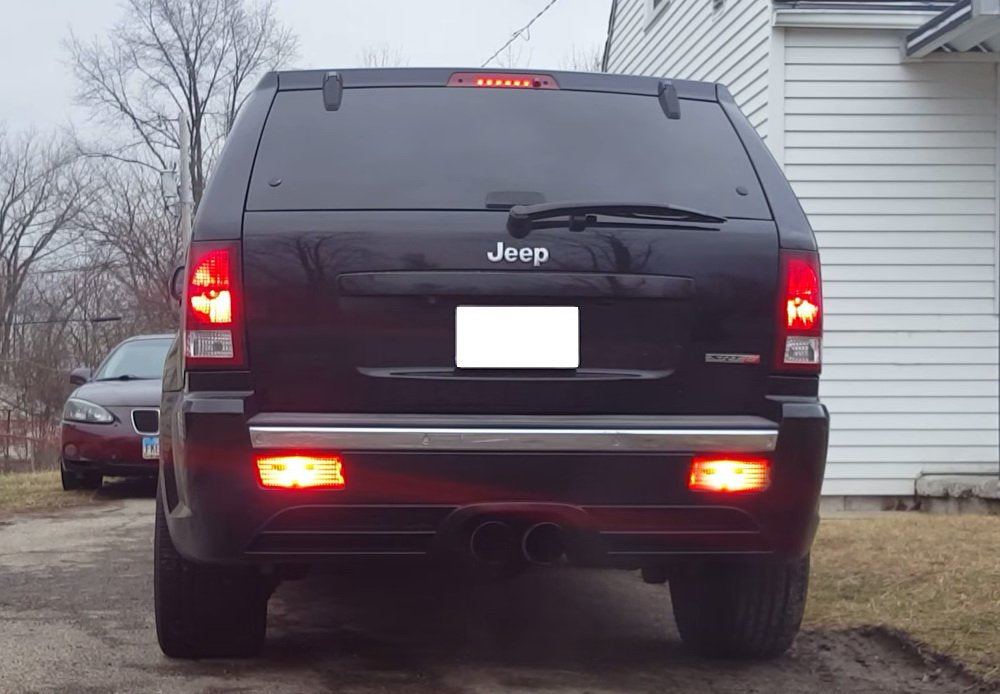 complete led rear fog light kit for 2005 2010 jeep grand cherokee wk1, includes brilliant red led bulbs, red lens foglamp assemblies \u0026 wiring harness Jeep Grand Cherokee Trailer Wiring