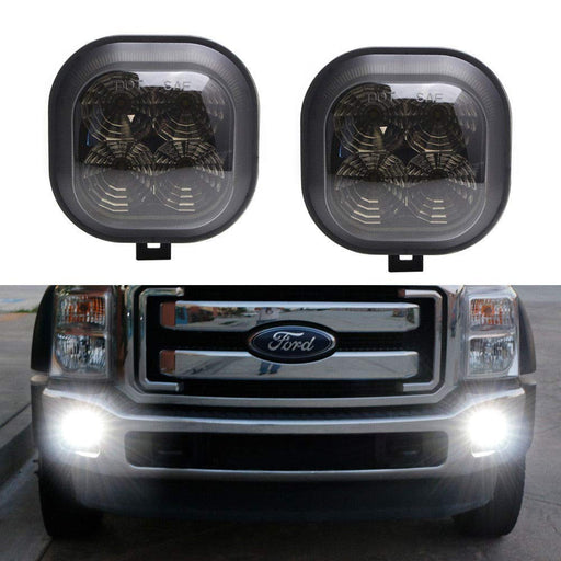 Smoked Lens Xenon White LED Fog Lamp Assy For 99-16 Ford F250 F350 F450 & 01-04 Excursion, OEM Fit Powered by 40W CREE LED Lights-iJDMTOY