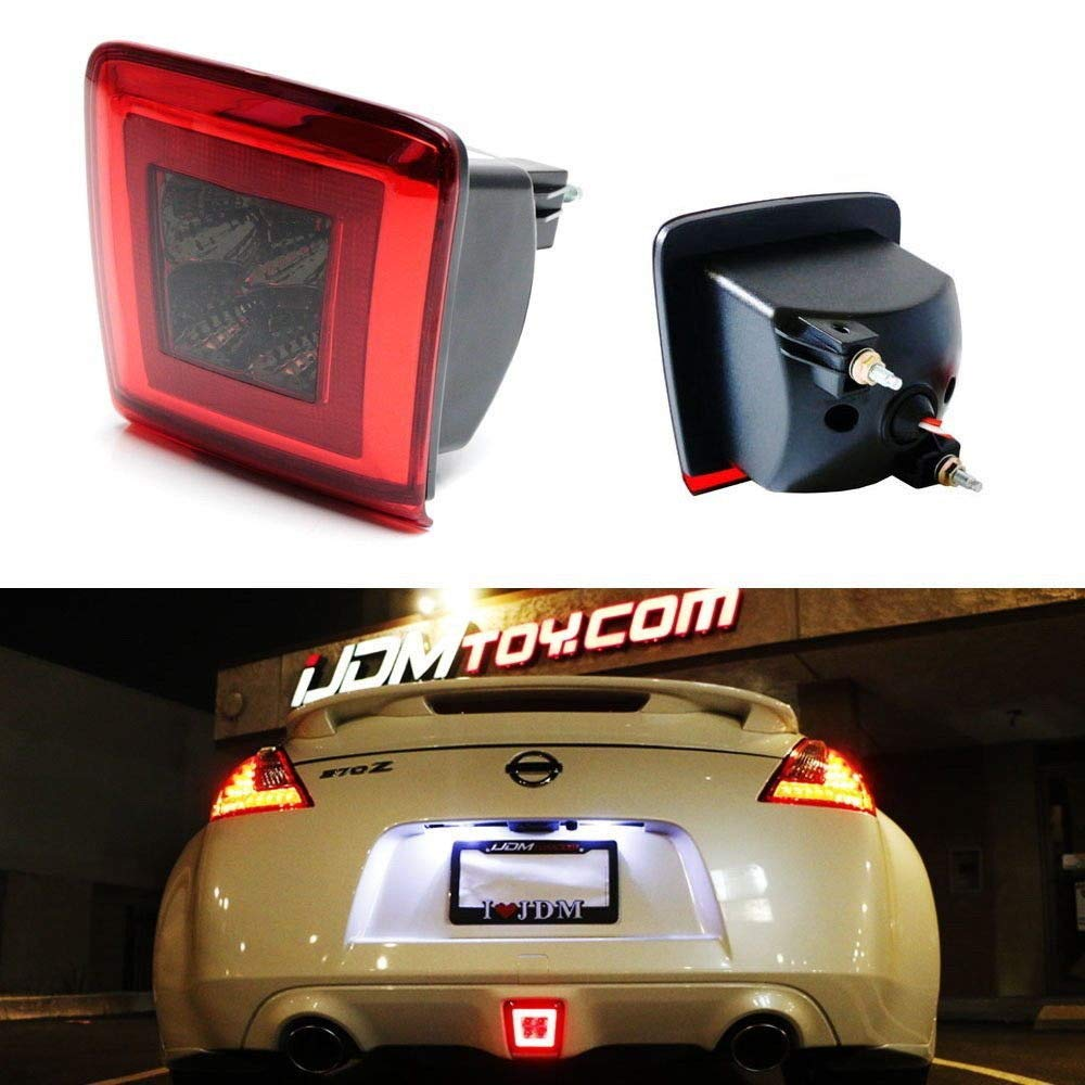 Dark Red, Red or Smoked Lens LED Rear Fog Light Kit For 2009-up Nissan 370Z & 13-17 Juke Nismo, Powered by Red LED as Brake/Rear Fog & White LED as Backup Reverse Lamp-iJDMTOY