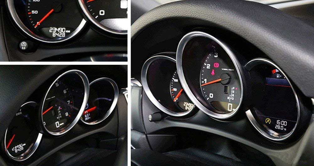 iJDMTOY 3pc Glossy Red Dashboard Gauge Surrrounding Ring Decoration Trim Kit For 2014-up Porsche Macan
