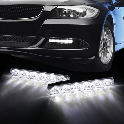 (2) 6000K Cool White 6-LED Universal Fit LED Daytime Running Lights For Car-iJDMTOY