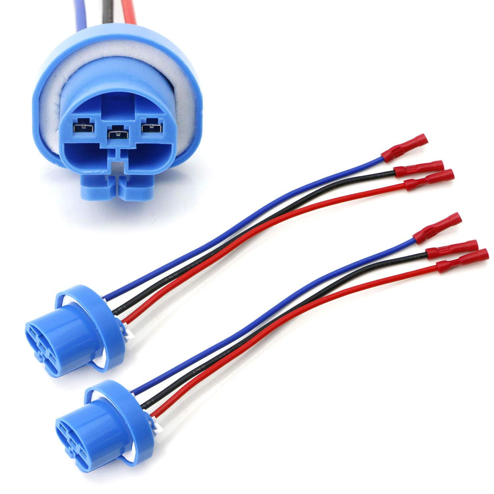 9004 9007 HB5 3-Wire Headlight Plug Adapter Pigtails w/ Quick Painless Headlight Plug Wiring on