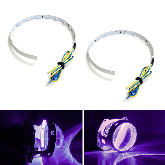 "Ultra Blue, Red, Green or Purple 15-SMD High Power LED Demon Eye Halo Ring Kit For Car Motorcycle Headlight Projectors or Aftermarket 2.5"" 2.8"" 3.0"" Retrofit Projector Lens-iJDMTOY"