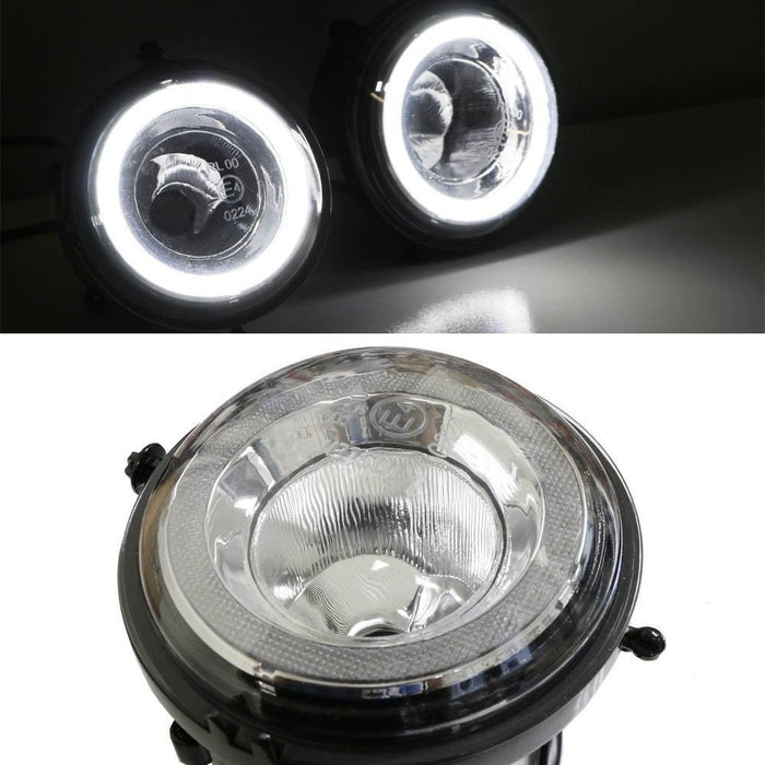 Xenon White LED Daytime Running Lights Fog Lamps Assy For MINI Cooper R55  R56 R57 R59 R60 R61 etc  Halo Style LED DRL Assembly